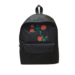 feb1c100f380 Fashion Women Harajuku Rose Embroidery Backpack Travel Backpack School  Students Canvas Rucksack Fab Women Bag