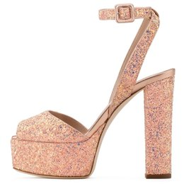d5e06ddf1fb New Fashion Black Bling Casual Shoes Peep Toe Mixed Colors Gold Hoof Heels  Platform Women Sandals Summer Buckle Strap High Heels Women Shoes