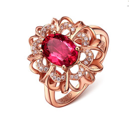 cover crystal set UK - 925 SILVER PAVE SETTING Rose Gold Cover Red Gemstone crystal simulate diamond women flower style wedding ring Size 6,7,8,9,10