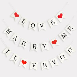 marriage party decoration NZ - Non-woven I LOVE YOU Garland Bunting Banner Wedding Marriage Room Valentine's Day Decor Birthday Party Decoration Party Supplies
