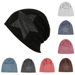 Wholesale Stocking Hats Australia - Fashion autumn and winter beanie hat 9 colors diamond turban Pentacle cap skull hip-hop stocking beanies hat for women men bonnet SS3