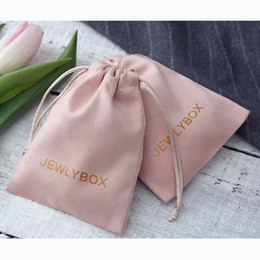 Jewelry Chic Australia - 100 Personalized Logo Print Drawstring Bags Custom Jewelry Packaging Pouches Chic Wedding Favor Bags Pink Flannel Cosmetic Bags