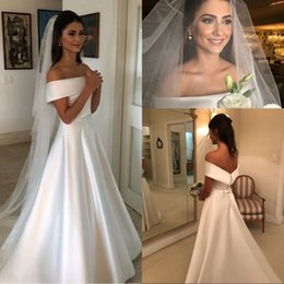 $enCountryForm.capitalKeyWord Australia - Simple A Line Wedding Dresses Satin Off The Shoulder Wedding Bridal Gowns Sweep Train Casual Dresses Zipper With Buttons Back