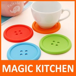 $enCountryForm.capitalKeyWord Canada - Wholesale-Magic Kitchen 10 pcs lot set Cute Silicone Round Button Coaster Cup Mats Home Table Decor Coffee Drink Placemat Free shipping