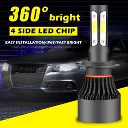 Venta al por mayor de 50 kits coche 50w led faro 4 lados led H7 H4 H11 9005 9006 9007 9004 H4 H13 AUTO led headight