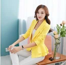 $enCountryForm.capitalKeyWord Australia - 2019 Fashion Hot New women blazers and jackets long-sleeve slim blazer ruffle short blazer design candy color Outerwear & Coats T190828