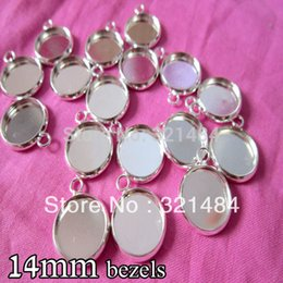 Wholesale Pendant Sets NZ - silver plated 500piece 14mm bezels round hung charm earring dangle pendant tray jewelry blanks cameo base cabochon setting