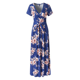 Print Dresses Neck For Evening NZ - 2019 New Spring Fashion Women Sexy Short Sleeve V-Neck Flower Print Evening Party Prom Swing Long Ladies Dresses For Female