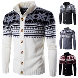 Mens Natal Sweaters Cardigan neve impressão Casacos Tops Hommes Pullovers Jumpers Camisolas Único Breasted Camisolas Masculino Slim Fit