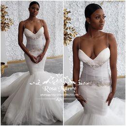 Wedding Dress Crystals Spaghetti Straps Australia - Sexy Plus Size Mermaid Wedding Dresses 2019 Spaghetti Straps Crystals Beaded White Tulle African Arabic Vestido De Novia Bridal Gowns