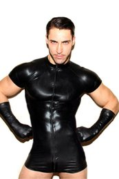 $enCountryForm.capitalKeyWord Australia - Man Seductive Wear PU Jumpsuit Sexy Lingerie Black Patent Exotic Short Sleeves Shorts Party Pole Dancing Wear Faux Leather