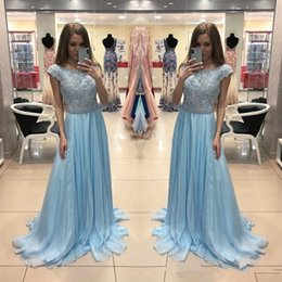 $enCountryForm.capitalKeyWord Australia - Light Sky Blue Lace Chiffon Prom Dresses Scoop Cap Sleeves Beaded Sash Girls Evening Dresses Graduation Party Gowns robe de soirée