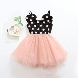 Cartoon Tutus Australia - Sweet Kids Girls Tutu Dots Cartoon Sundress Halter Design Patchwork Casual Summer Dress Cute Children Clothing