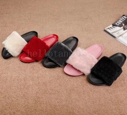 fur pink slides Australia - Luxury Women Slippers designer Girls Pink Red Black Grey Fur Slides High Quality designer sandals Scuffs pantufas womens winter Furry