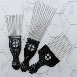 Hair Forks Australia - 2019new Retro Oil head Professional Flat Comb Fork comb Steel needle Pick Hair flat comb Hairdressing Styling Tools barber brush