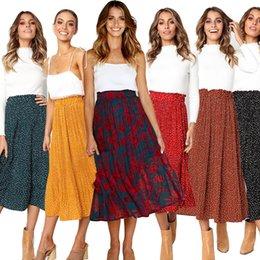 Toptan satış 2019 Kadınlar Casual Retro Yüksek Bel Çiçek Uzun Elbise Bayanlar Baskı Pileli Orta Buzağı Etek Tüm Sezon Bırak
