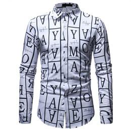 Long Shirt Men Fashion Australia - Letters Printed Shirt Men Casual Floral Shirts Long Sleeve Turn-down Collar Male Blusa Slim Fit Clothes 2019 New Shirt Fashion