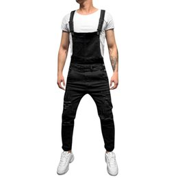 Discount trousers overall jeans - Men jumpsuit Men's Overall Casual pantalones hombre Jeans Wash Broken Pocket Trousers Suspender pantalon invierno h