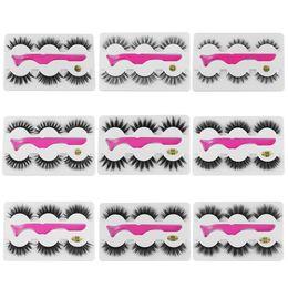 $enCountryForm.capitalKeyWord Australia - 3 Pairs False Eyelashes Wispy Fluffy Thick Long Fake Eye Lashes Extension With 1 Pc Tweezer Handmade Natural Eye Makeup Tools