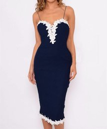 Ladies Night Evening Dresses UK - Sexy Women Bodycon Strappy V Neck Lace Flower Evening Party Ladies Midi Dress