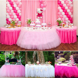 Polyester Table Skirting Australia - Christmas Party Tulle Table Skirt Cover Birthday Wedding Festive Party Decor Princess Table Cloth Skirt Supplies 5 Colors