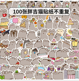 cat decals for car windows UK - 100 pcs Car Stickers Cartoon fat Emoji Cats For Laptop Skateboard Pad Bicycle Motorcycle PS4 Phone Luggage Decal Pvc guitar Helmet Stickers