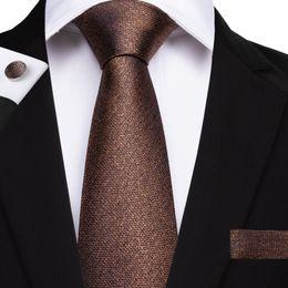 Brown Tie Hanky Sets NZ - Hi-Tie Fashionable Tie Sets Hanky Cufflinks Brown Solid Jacquard Woven Silk Neckties Formal Casual Wedding Party N-7136