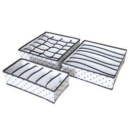 $enCountryForm.capitalKeyWord UK - 3PCS SET Foldable Underwear Organizer Bra Tie Scarf Clothes Storage Box Container Wardrobe Closet Organizer Drawer Dividers Case