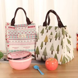 Picnic Ice Packs Australia - lunch bags canvas portable insulation lunch bag Japanese fresh-keeping ice pack cotton and linen Outdoor picnic storage bag