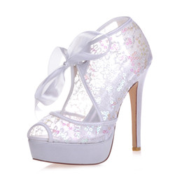 Ivory lace pumps weddIng online shopping - 3128 Paillette Grenadine High Heels Women Pump Prom Party Evening Dance Wedding Bridal Shoes cm Platform Open Peep Toe cm Stiletto