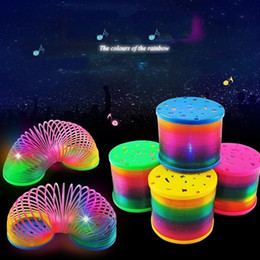 magic spring slinky 2021 - Magic Plastic Slinky Lighted Rainbow Spring Color Random Children Funny Flash Classic Toy Educational Toys