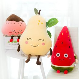 cartoon fruit watermelon Australia - Watermelon Strawberry Pear Plush Toys Kawaii Cartoon Cute Fruit Stuffed Doll Soft Boys Girls Cushion Pillow For Kids Children