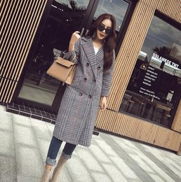 Wholesale Fashion Middle Length Plaid Women Outerwear Double Breasted Trench Sexy Slim Trench Coats Ladies Clothing Overcoat