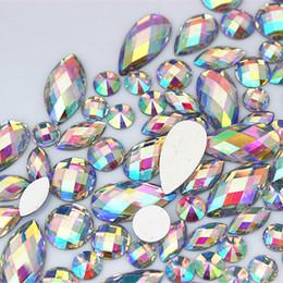 Crafting Gems Australia - 100PCS Multiple shape AB Clear Resin Rhinestone Flatback Gems Strass Crystal Stones For Dress Crafts Decorations ZZ738