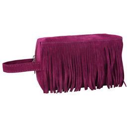 Blue Cosmetics Bag Australia - Make up Bag Cosmetic Bags Women Fleece Fabric Tassel Handbag Girls Solid Travel Pouch Toiletry Beauty Organizador
