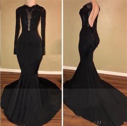 $enCountryForm.capitalKeyWord NZ - Black Mermaid Prom Dresses 2018 Long Sleeves Open Back Appliques Evening Gowns Court Train Arabic Dresses Women Formal Wear