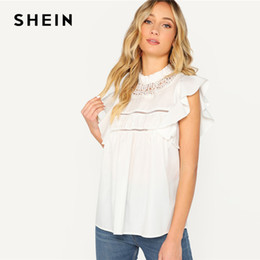 d453927c43 SHEIN Romantic White Lace Insert Ruffle Armhole Mock-neck Top Blouse Women  Spring Stand Collar Butterfly Sleeve Top Blouses