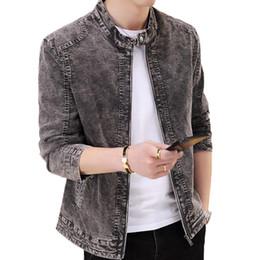 Korean Slim Clothes Male Australia - Denim Jacket Men Brand New Fashion Zipper Jackets Male Korean Version Casual Trend Slim Fit Stand Collar Coats Clothes