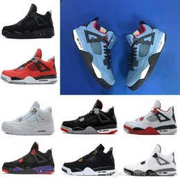 Green Money Box Australia - With Box Travis 4 Cactus Jack Men Basketball Shoes Raptors White Cement Black Cat Bred Fire Red Pure Money Sports Sneakers Us 8-13