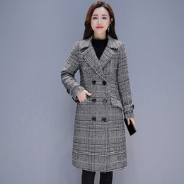 Thickness Coatings Australia - Ailegogo Women Thickness Gray Plaid Cotton Coat Casual Loose Fit Double Breasted Medium Long Jacket Outwear Female