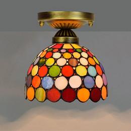 Vente en gros Éclairage de plafond rétro européen suspendu Tiffany vitrail Chandelier couloir couloir balcon petit plafond lampe de barre coloré TF015