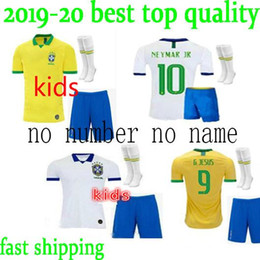 8485b39af in stock!2019 Brasil kids kit Copa America Jersey G.JESUS P.COUTINHO  MARCELO Soccer Jersey 2019 20 Brazil Football KIDS Jersey KIT