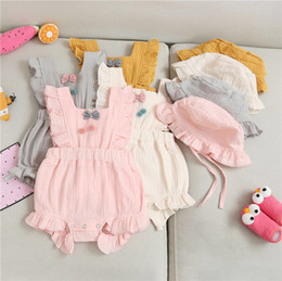 Blank tie online shopping - INS New Summer Toddler Baby Girls Blank Rompers Front Flower Tie Jumpsuits with Hat Set Fly Ruffle Sleeve Cotton Bodysuit Baby Romper M
