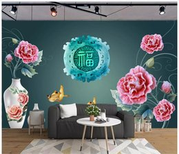 $enCountryForm.capitalKeyWord Australia - Customized 3D Photo Silk Mural Wallpaper Interior decoration Blessing goldfish beautiful vase fashion living room TV sofa background wall