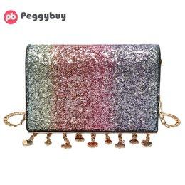 Red shining handbag online shopping - Shining Sequins Tassels Women Chain Party Girls Shoulder Messenger Handbags