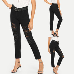 Discount high waist jeans for girls fashion - High Waist Skinny Fashion Boyfriend Material Jeans for Hot Women Hole Vintage Girls Slim Ripped Denim Pencil Pants