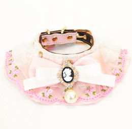 $enCountryForm.capitalKeyWord NZ - New pink and Engravable pearl flash drill pet collar cat and dog can pull mouth towel pet supplies