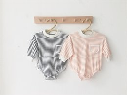 toddler boys rompers Canada - Newest Designs INS Infant Toddler Baby Boys Girls Stripe Rompers Autumn Long Sleeve Front Pockets Cotton Quality Jumpsuits Bodysuits 0-2T