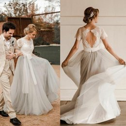 $enCountryForm.capitalKeyWord NZ - Pretty A Line Country Wedding Dresses New 2019 Rustic Style Sexy Keyhole Top Ivory Lace Cheap Silver Tulle Bohemian Beach Boho Bridal Gowns