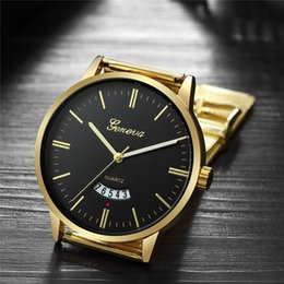geneva business watch NZ - Geneva Gold Watch Luxury Business Men Watches Stainless Steel Watches Men Date Quartz Wristwatch Man Clock relogio masculino